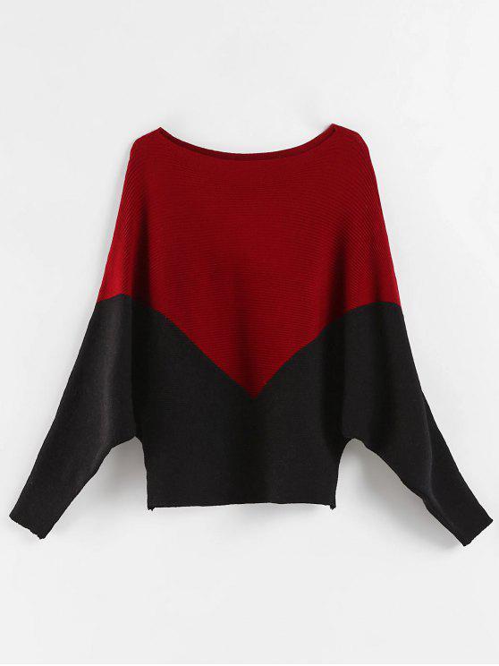 Suéter de Batwing Color Block Sweater - Multi Tamanho único