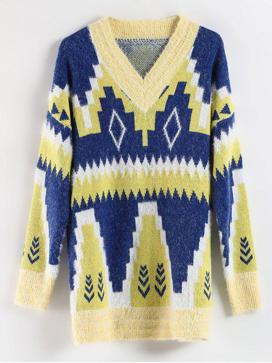 outfits Geometric Drop Shoulder Longline Sweater - MULTI ONE SIZE