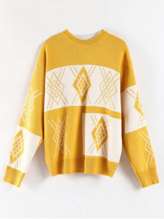 latest Oversized Crew Neck Graphic Sweater - BRIGHT YELLOW ONE SIZE