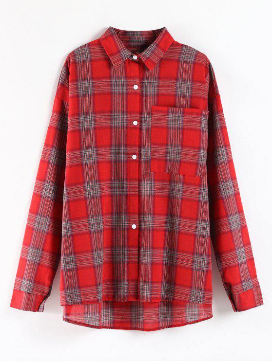 Camisa de túnica de gran tamaño de bolsillo a cuadros - Rojo Única Talla