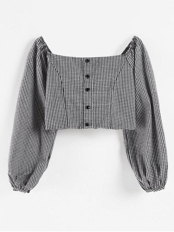Blusa de Colheita com Gingham Quadrada - Preto L