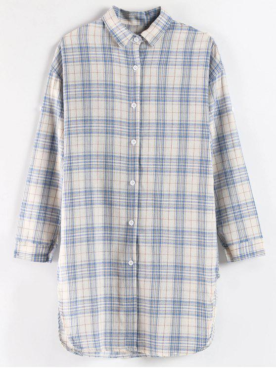 d767c6043e3eaa 29% OFF] 2019 Long Plaid Side Slit Shirt In MULTI | ZAFUL
