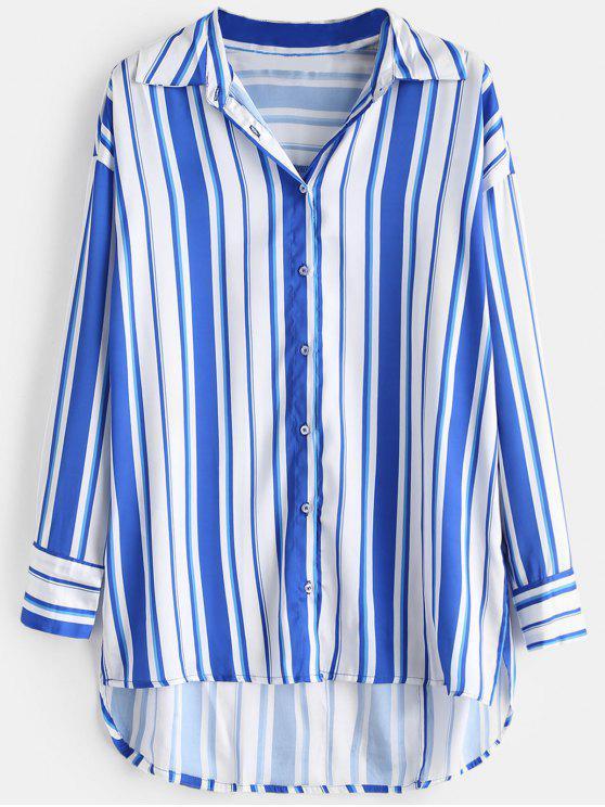 Striped High Low Slit Shirt - Azul Cobalto M