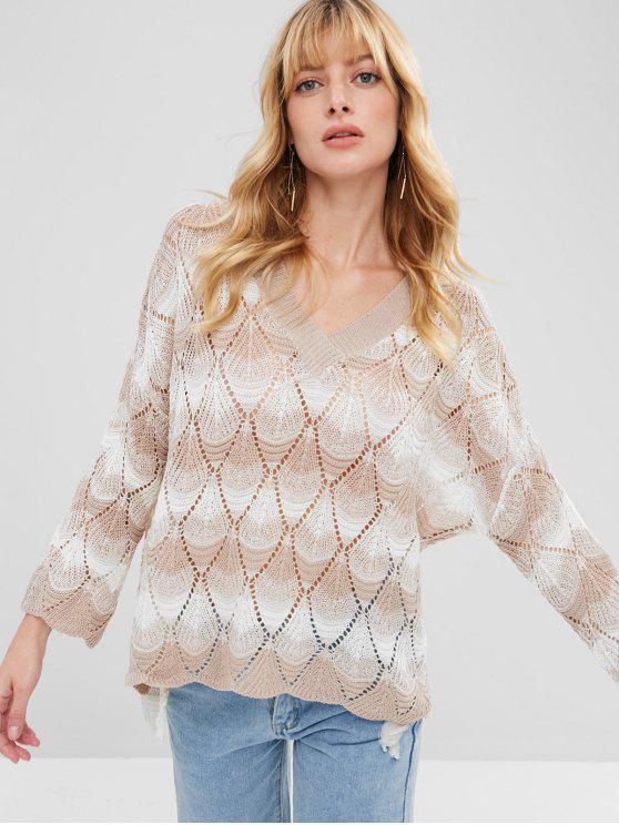 unique Stripes Loose Knit V Neck Sweater - MULTI ONE SIZE