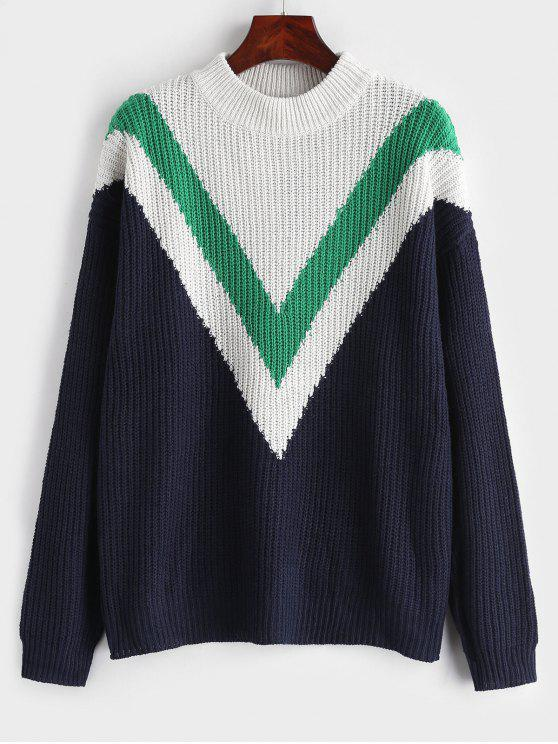 buy Zig Zag Drop Shoulder Sweater - NAVY BLUE S