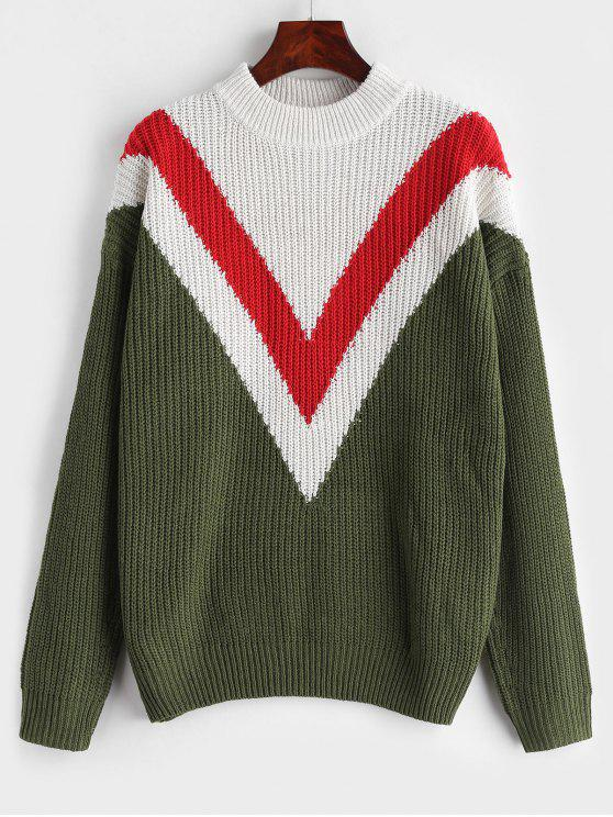 Zig Zag Drop Shoulder Sweater - Verde de Helecho L