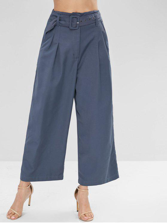 trendy High Waisted Belted Wide Leg Pants - SLATE BLUE M
