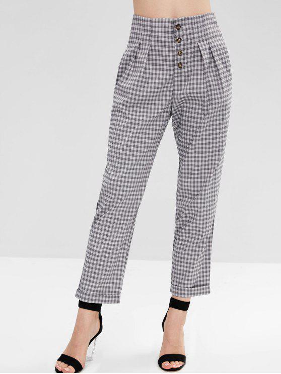 Calças de cintura alta com botões xadrez - Multi XL