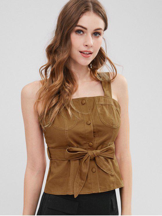 Camisola sem mangas com decote redondo - Castanha L