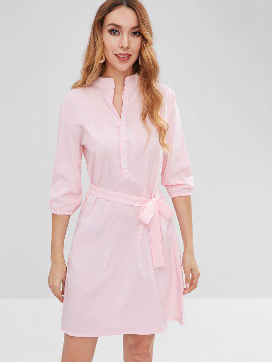 fashion Buttoned Shirt Dress - PIG PINK S