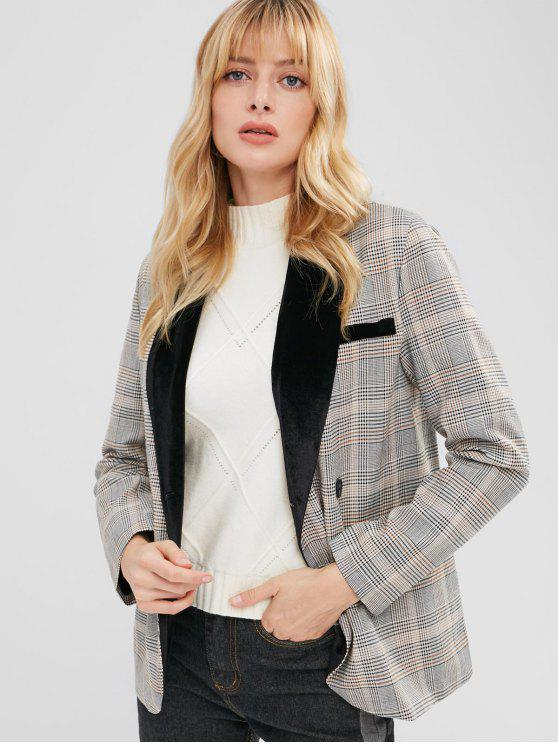 Samt-Panel-Plaid-beiläufiger Blazer - Multi L