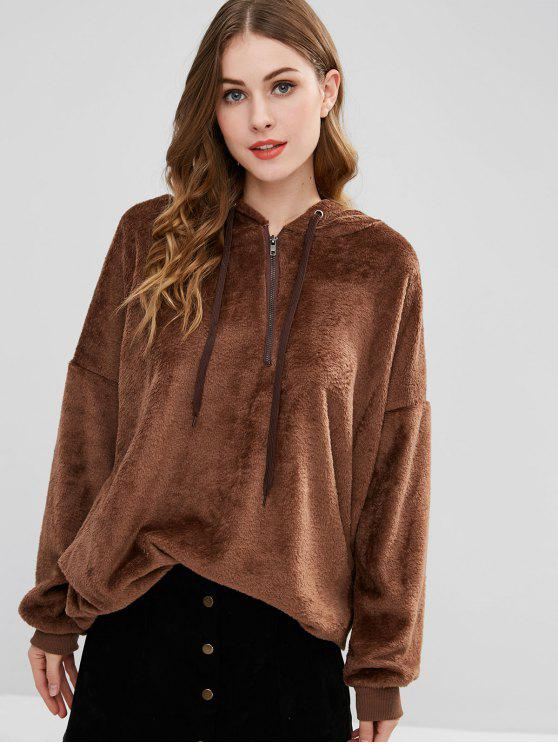 buy Half-zip Fleece Tunic Hoodie - COFFEE M