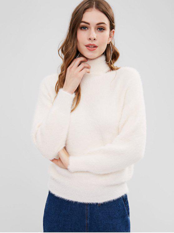 Fuzzy Cut Out camisola de gola alta - Branco Um Tamanho