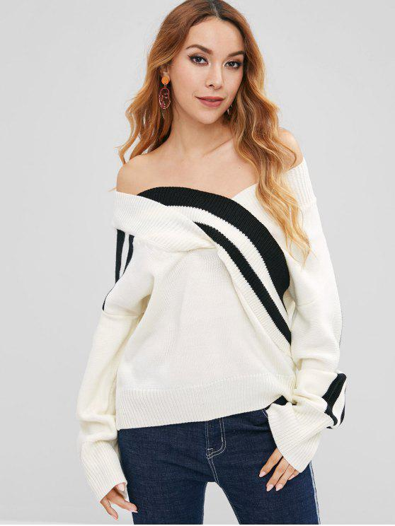 women's Striped Off Shoulder Loose Sweater - WHITE ONE SIZE