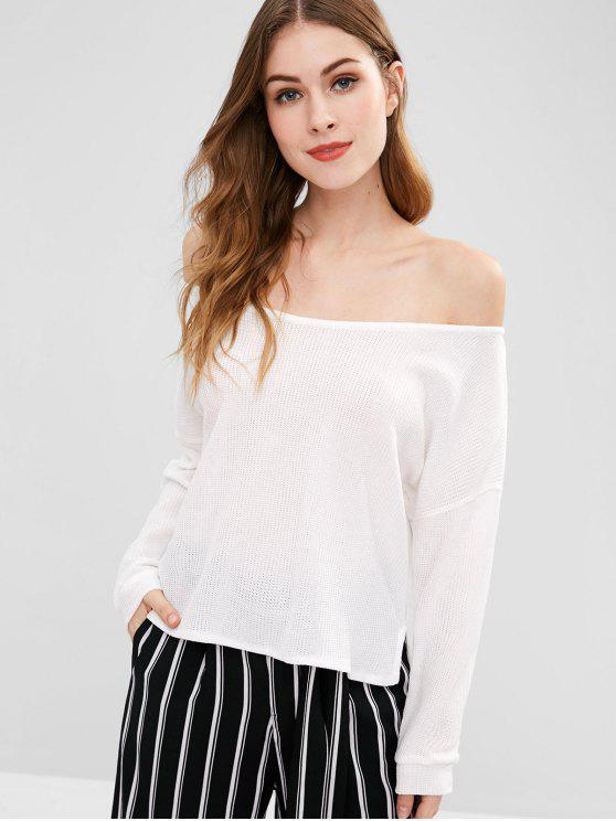 online Side Slit Loose Knitted Top - WHITE L
