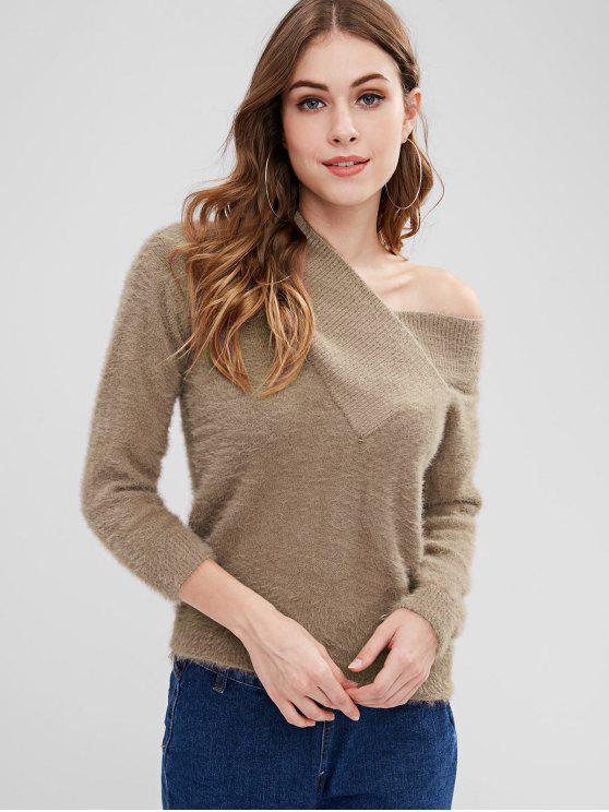 hot Fuzzy Drop Shoulder Surplice Sweater - TAN ONE SIZE
