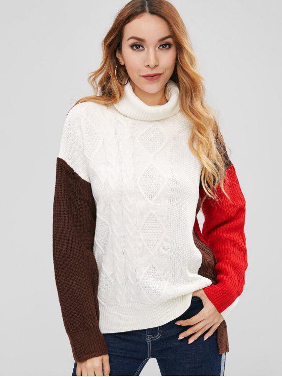 Blusa de túnica de bloco de cor de gola alta - Branco M