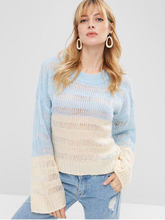 Suéter de punto suelto de punto suelto - Multicolor Talla única
