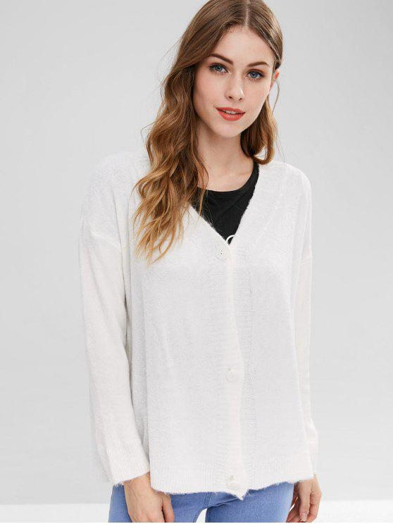 women Drop Shoulder Button Up Cardigan - WHITE ONE SIZE