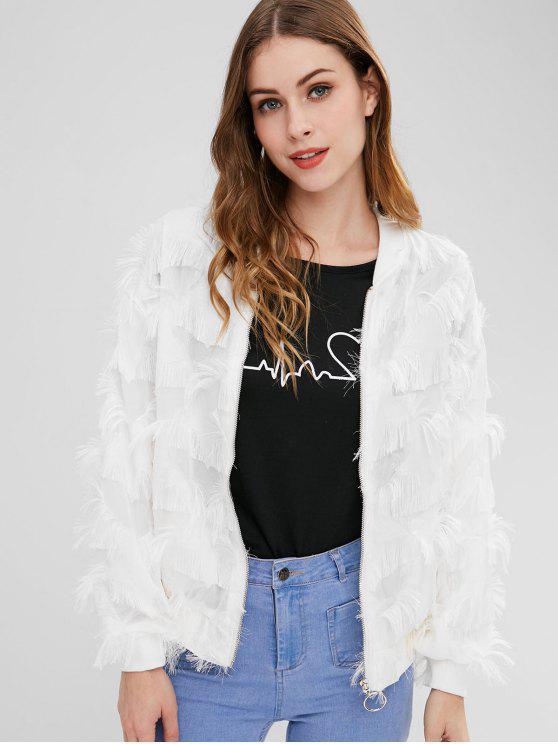 outfits Fringes Zip Up Bomber Jacket - WHITE M