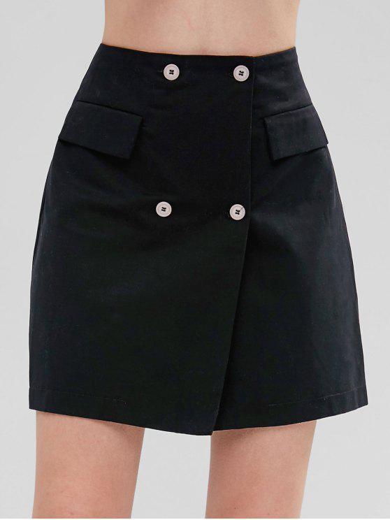 Minifalda de doble botón Pelmet - Negro M