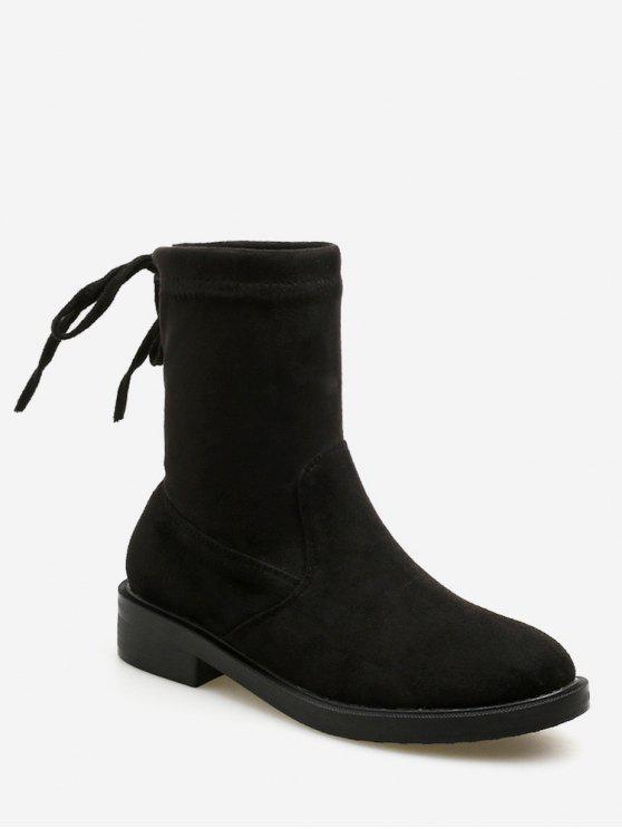 ladies Bow Tie Back Flat Short Boots - BLACK EU 40