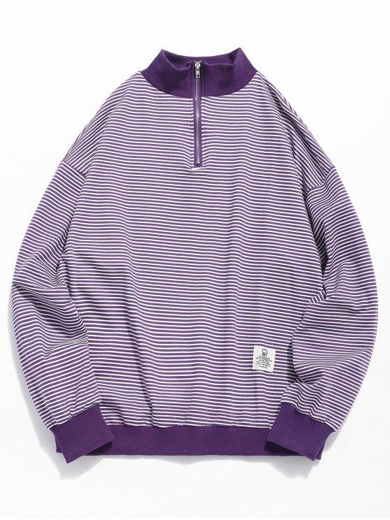 Sudadera a rayas con cuello redondo - Púrpura L