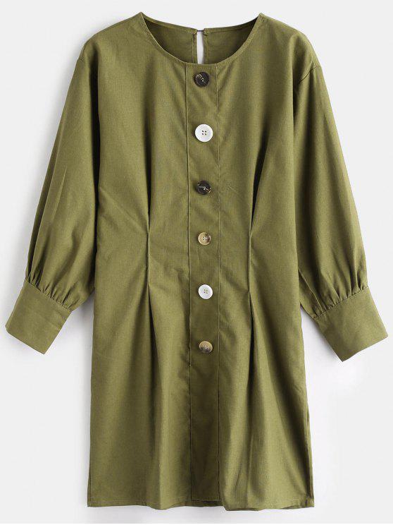 lady Buttoned Casual Mini Dress - AVOCADO GREEN S