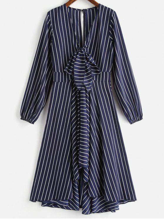 Um vestido de manga longa linha listrada - Azul da Meia Noite M