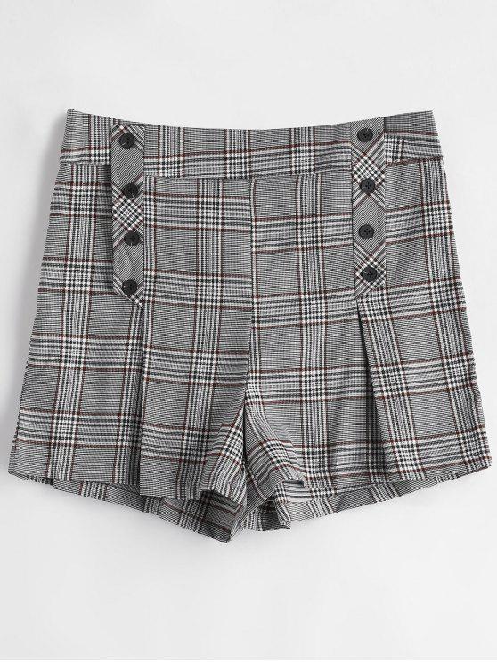 Shorts de botão xadrez - Cinzento L