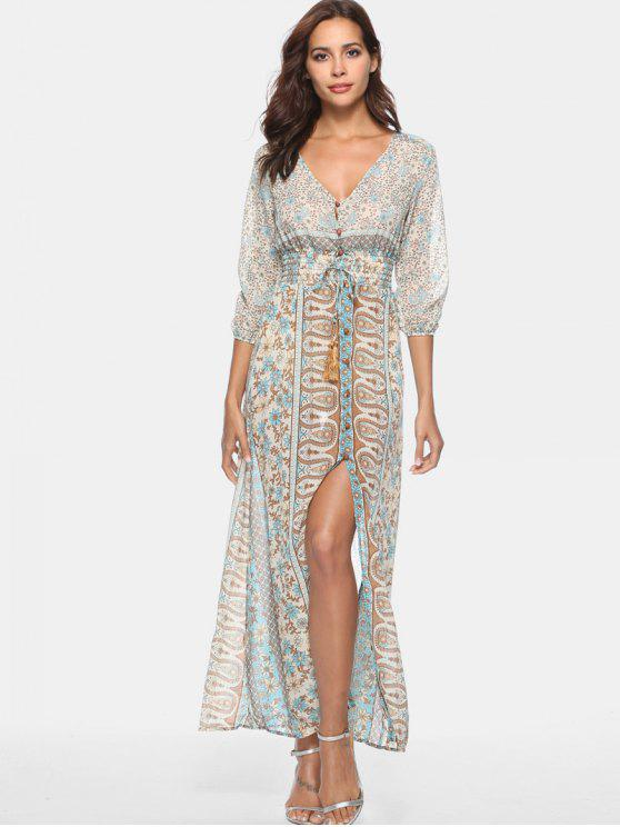 lady Button Up Printed Smocked Maxi Dress - MULTI M