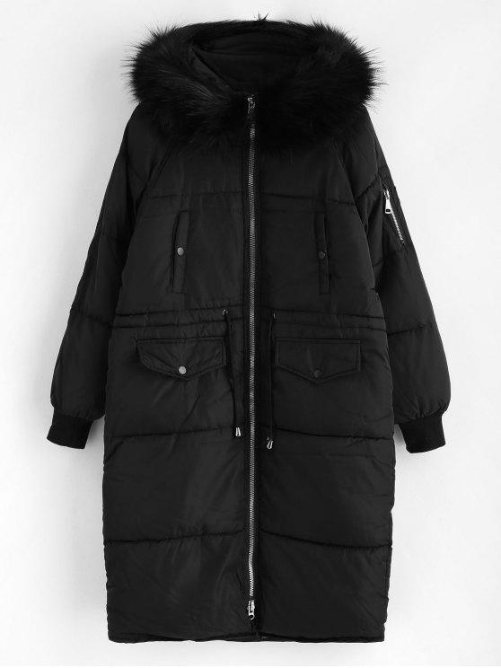 Abrigo de invierno acolchado largo de capucha de piel sintética - Negro XL