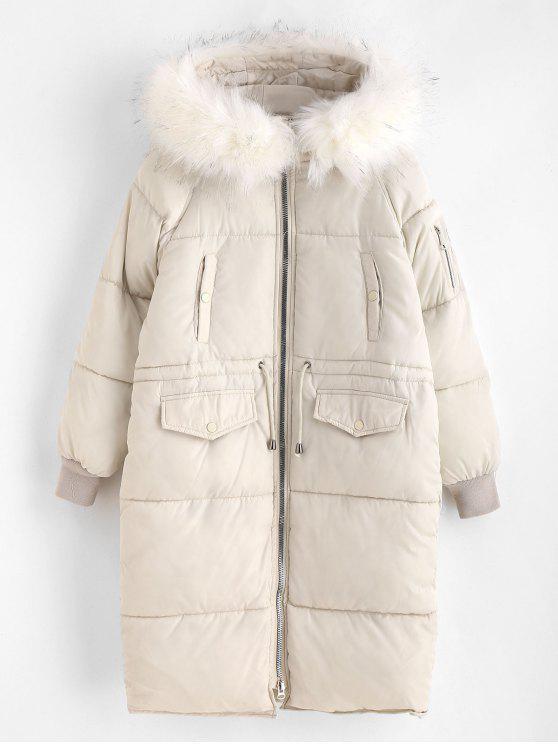 Abrigo de invierno acolchado largo de capucha de piel sintética - Blanco Cálido L