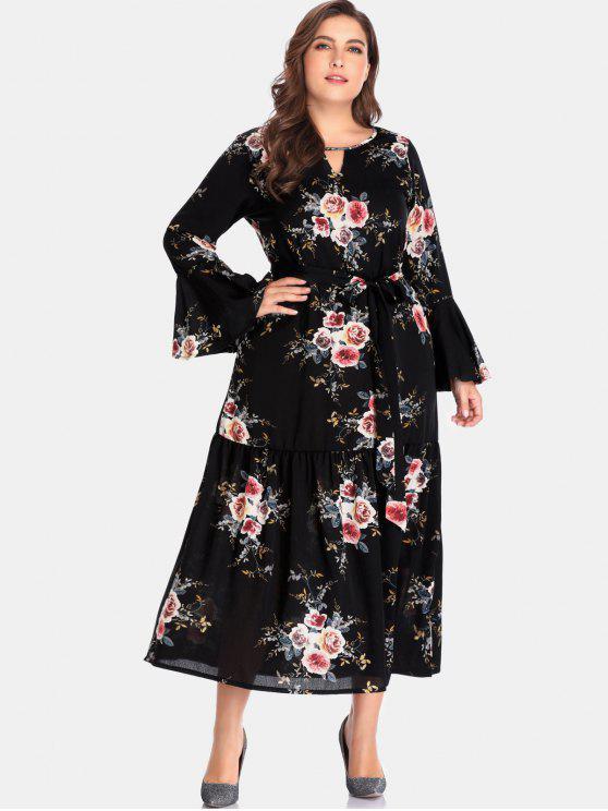 Vestido largo con recorte floral - Negro 2X