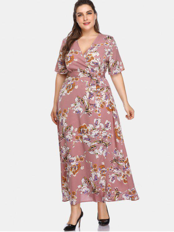 Vestido largo con estampado floral y talla grande - Lápiz Labial Rosa 2X