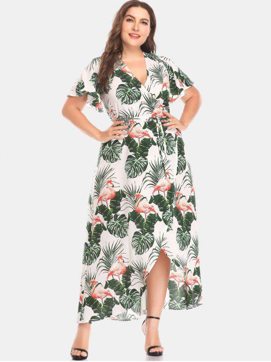 Flamingo Leaf Print Plus Size Wrap Dress MULTI