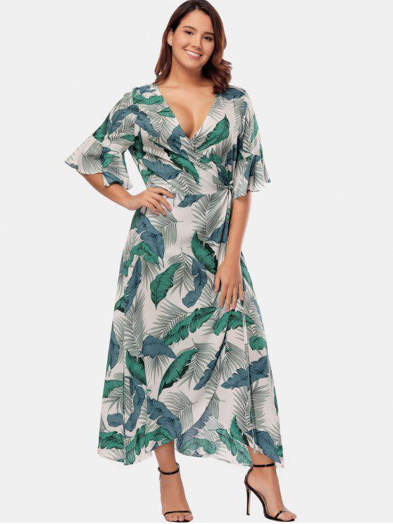 Palm Leaf Plus Size Maxi Wrap Dress MULTI