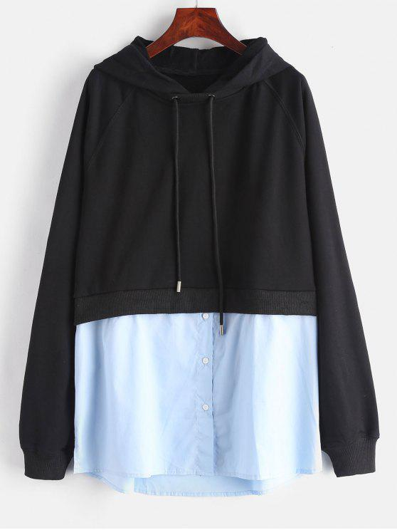 outfits Side Slit Shirt Patched Hoodie - BLACK S