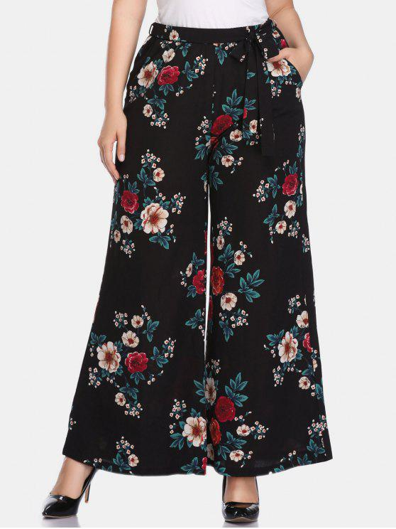 Calças de perna larga Floral Plus Size - Preto 5X
