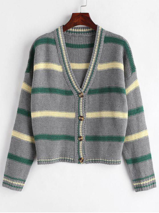 women Drop Shoulder Striped Cardigan - GRAY S