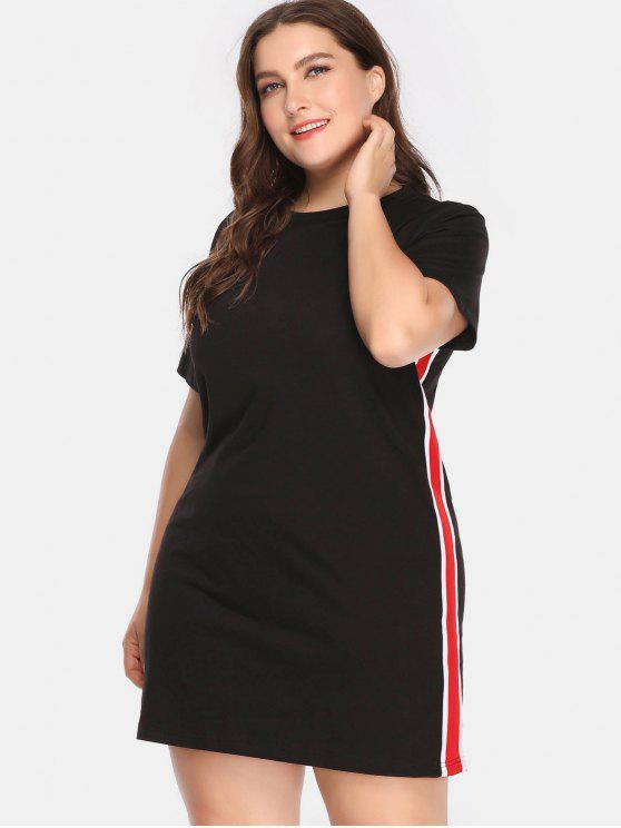 33% OFF] 2019 Side Stripe Plus Size T Shirt Dress In MULTI-B | ZAFUL