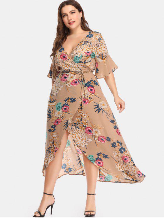 43 Off 2018 Plunge Plant Print Plus Size Wrap Dress In Multi 5x