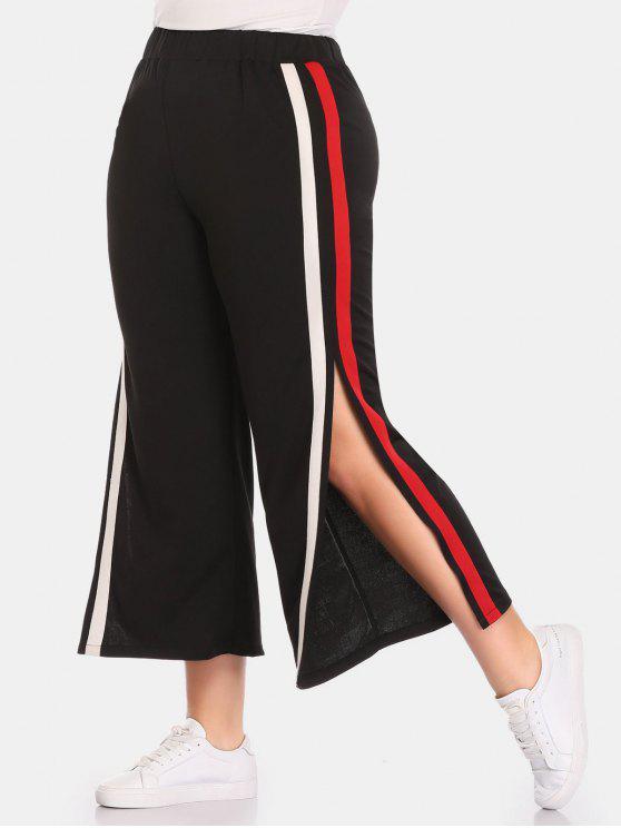 Pantalon à Rayure Latérale de Grande Taille - Noir 3X