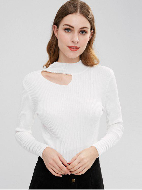lady Cut Out Beaded Knit Top - WHITE ONE SIZE
