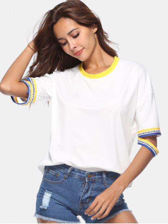 T-Shirt Con Bordi A Righe - Bianco XL