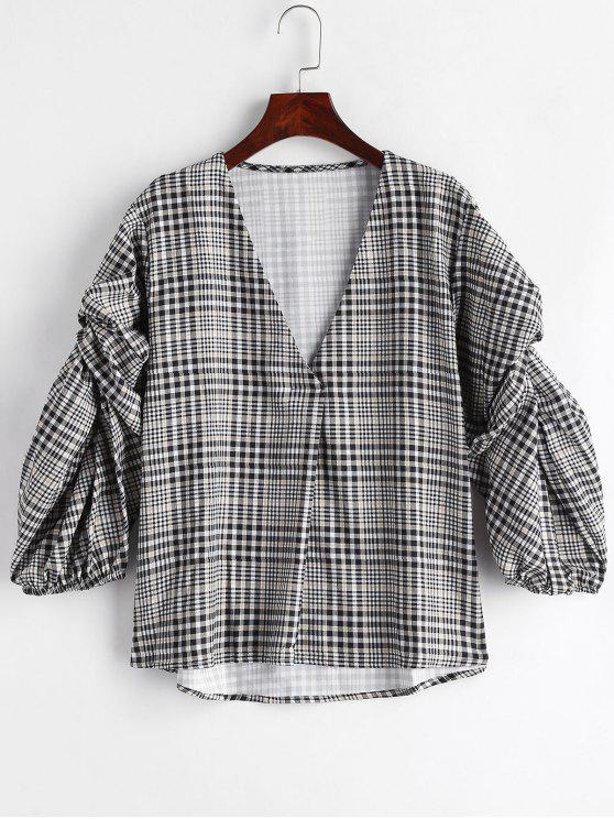 trendy Gingham Loose High Low Blouse - BLACK S