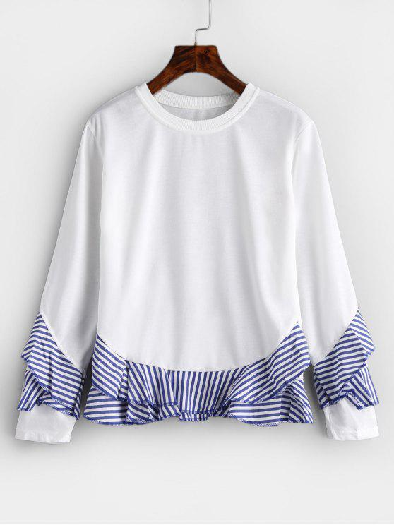 Striped Ruffle T-shirt - Blanco M