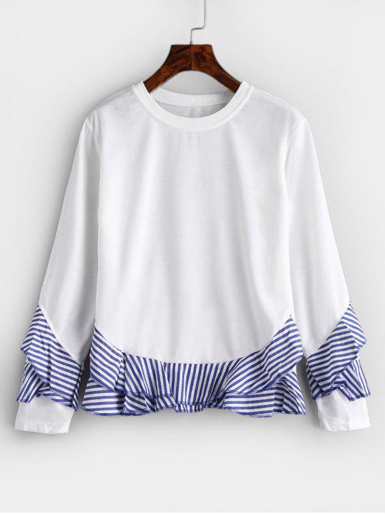T-shirt Rayé à Volants - Blanc L