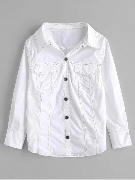 sale Long Sleeve Shirt with Pockets - WHITE L