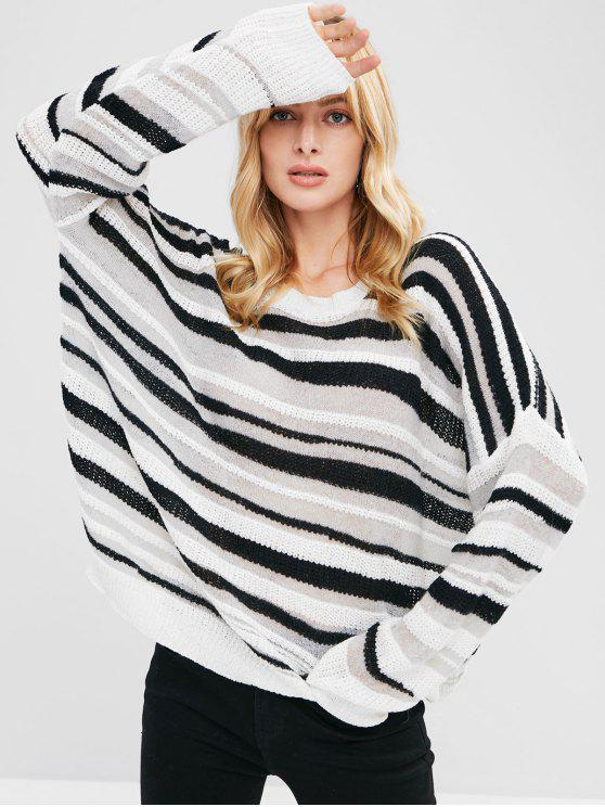 Maglione Plus Size A Righe - Multi Colori Una Taglia